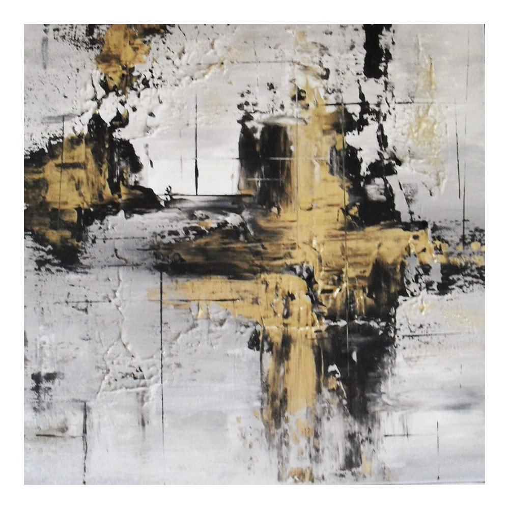 Black and gold painting abstract gold painting original gold for Gold paintings on canvas