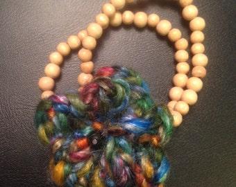 Crochet flower racelet