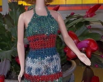 Hand Knit Halter Dress for Barbie B02D