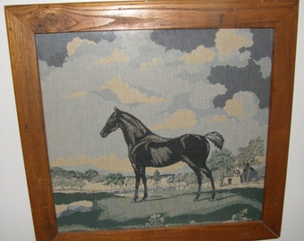Handsome Vintage Black Stallion Tapestry Woven Pastoral Scene Horse Equestrian Farmhouse Textile Art Barnwood Frame