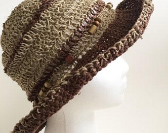 Promotional Price.Crochet summer sun hat.Hat with a brim.Sun hat with natural hemp.Crochet sun hat. Women sun hat.Summer hat. Sun hat.TemiM