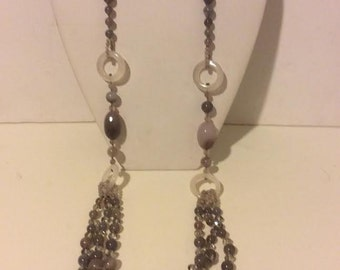 Extra long grey beaded agate necklace