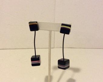 Sobral black resin long licorice earrings