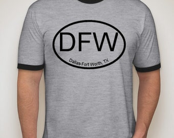 AIRPORT CODE Ringer Tee, DFW,Dallas, Fort Worth, Texas Airport, Texas shirt, Dallas shirt