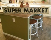 """Super Market Sign, Hand Painted Sign, Kitchen Sign, Wood Sign, Fixer Upper Sign, Farmhouse Decor, 4 foot Sign, 48"""" Sign, Distressed Sign"""