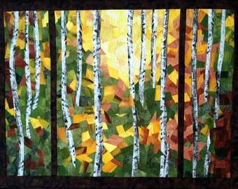 Art Quilt, Original Fiber Art Wall Hanging, Birch Forest, Hand dyed Fabric, Fabric Art, Trees, Birches