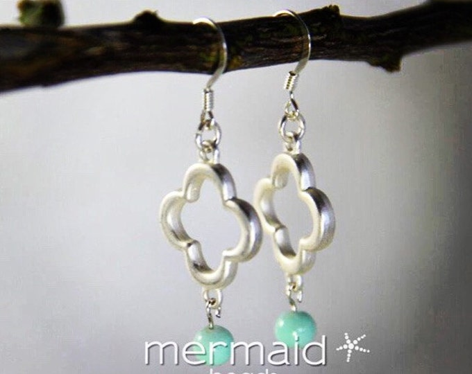 Mint Green Earrings Silver Clover Dangle Drop Bead Earring Mint Green Bridesmaids Jewelry Phi Mu Beach Inspired Ocean Boho Earrings