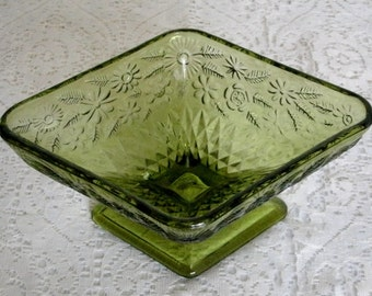 Vintage Green Glass Candy Dish, housewares home decor collectible glassware retro victorian cottage chic mid century serving decoration