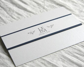 Silver and Navy Modern Elegant Pearl Linen Thermography Wedding Programs