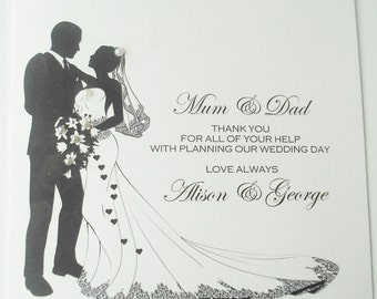 Personalised thank you parents wedding card
