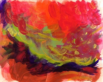 """Bright red orange gold abstract painting Small contemporary original apartment wall art """"Glory Days"""" 11x14"""" exciting small abstract artwork"""