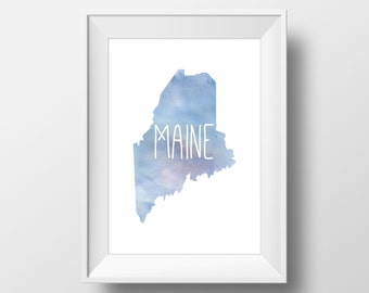 Maine State Blue Watercolor Printable Art, Maine State Print, Maine Art, Modern Art,