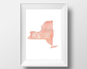 New York State Pink Watercolor Printable Art, New York Print, New York Art, Modern Art,