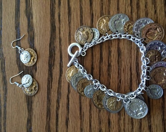 Coin Charm Bracelet with a set of Earrings