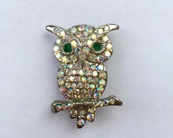Vintage Silver Owl Brooch