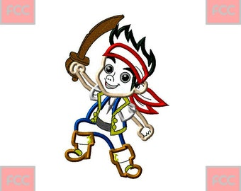 Jake Pirate Applique Machine Embroidery Design in 2 sizes **INSTANT DOWNLOAD**