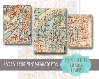 """Printable Vintage Map Pocket Letter Sheet - 9 Lyon Vintage Map Cards - 2.5 x 3.5"""" ATC ACEO Cards - Vintage Map Hang Tags, & Jewelry Cards"""