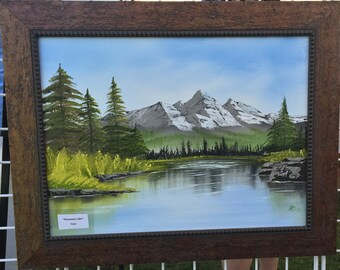 Original Oil Painting Mountains Lake 18x24
