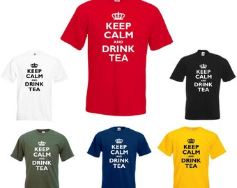 Keep Calm And Drink Tea - Mens/Adults Novelty Tshirt - Funny/Joke/Gift/Present/Secret Santa