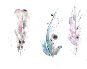 Three Feathers watercolor painting, original