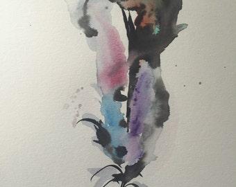 Watercolor feather, original 9 x 12