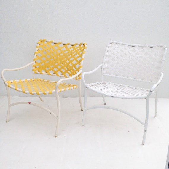 Brown Jordan Yellow Mid Century Modern Patio Lounge Chairs