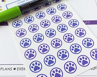 35 Paw Print Planner Stickers- Dog Bath or Dog Walk Reminder Stickers- perfect in your paper planner, wall calendar or scrapbook