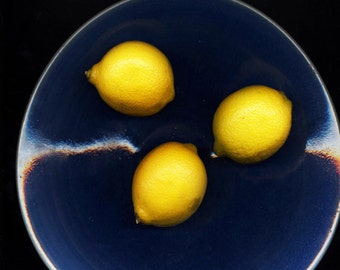 Fine Art, still life image, lemons in bowl, blue, yellow and black, Signed Digital Print FREE SHIPPING in the U.S.