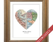 Personalized Map Print, Custom Wedding Gift, Heart Map Print, Bookfold Design, Two Locations, Your Choice, Anniversary, Engagements