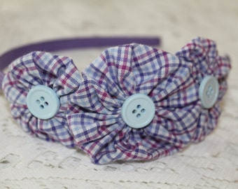 Purple Thin Headband with Large Purple/Teal Plaid Yoyo Flowers