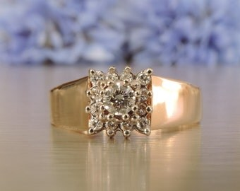 Square Cluster Diamond Ring / Anniversary and Wedding / Birthday Gift /  Gift / Mothers Day Gift / Transcend Fine Jewellery SKU # VRLYD-004