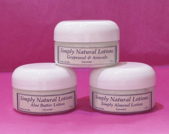 3 Pack Lotion, Grapeseed Oil, Avocado Oil, Almond Oil, Aloe Butter, Lotion, Skin care, Organic ingredients, All Natural, Lotion Gift set