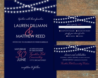 Wedding Invitation Suite, String Lights, Navy and Coral, Customizable, Printable