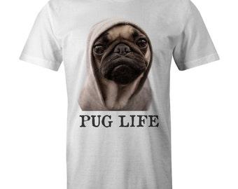 PUG LIFE Swag T-shirt Hipster Funny Hugs Thug Dog Lovers