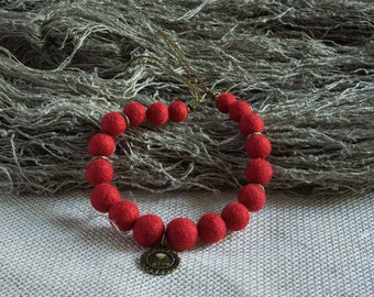 Necklace with a pendant, Felted Wool Necklace