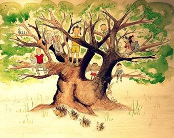 Personalised custom family tree painting (watercolour)