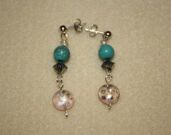 silver and turquoise beaded dangle earrings