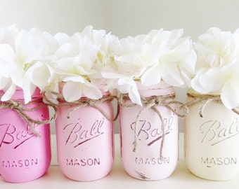 Pink Baby Shower Centerpieces, Pink Ombre Painted Mason Jars, Rustic Home Decor, Breast Cancer Awareness, Girl Birthday Party, Wedding Set
