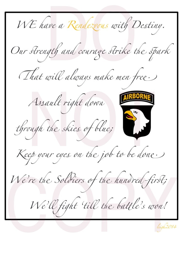 Simple 101st Airborne Division Song By Ruckandregalia On Etsy