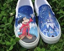 Disney Inspired Mickey and Castle Custom Painted Vans