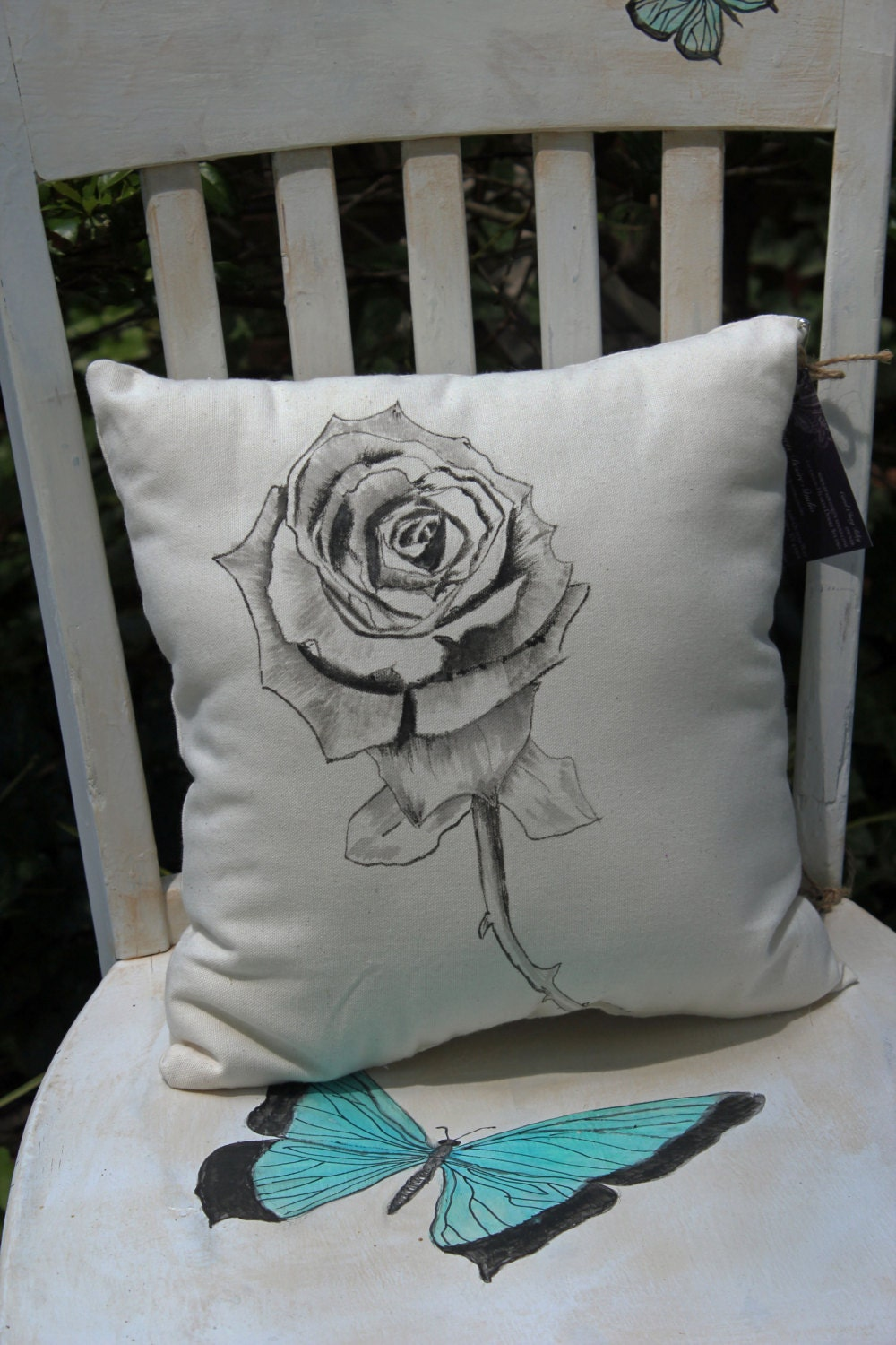 Hand painted black rose pillow floral pillow home decor for Hand painted pillows