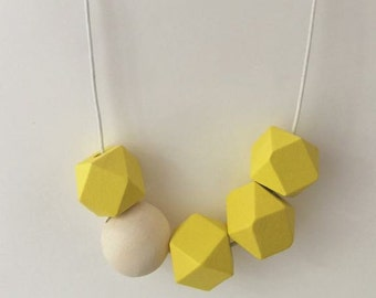 Wooden geometric necklace // Handpainted in sunshine yellow