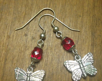 Tiny dangly butterfly vintage earrings