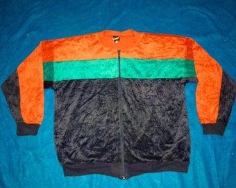 vintage 60s 70s jantzen sweater jacket talon zip made in USA saiz large