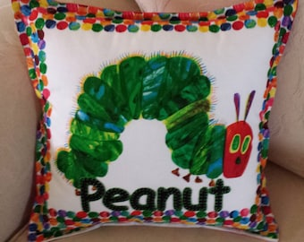 Personalised hand embroidered cushion cover