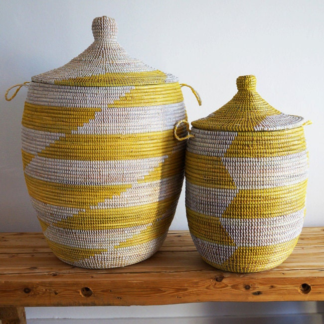 Handmade Baskets From Africa : African basket handmade yellow white by loveafricanbaskets