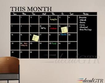Chalkboard Calendar Wall Decal 18x30 or 24x41 - Chalk Board Month Calendar Vinyl Sticker - Monthly Planner - C003