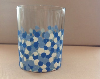 Confetti dot votive candle holder in blue and white, polka dots