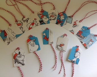 Cat in the Hat by Dr Seuss tags, set of 10
