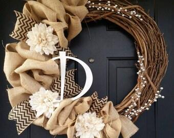 Burlap and Grapevine Wreath